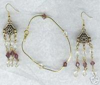 Clear Amethyst Glass Bracelet Earring Set