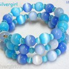 "17"" Shimmer Fiber Optic Cat's Eye Beaded Memory Wire Wrap Bracelet Blue White"