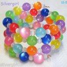 "25"" Glass Acrylic  Rainbow Colored Beaded Memory Wire Wrap Bracelet"