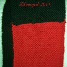 "Hand Knit Scarf Black Red  72"" x 8"""