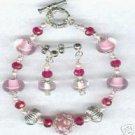 Cotton Candy Lampwork Glass Rondell Bracelet Earrings