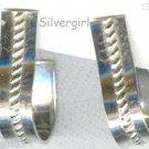 1 Pr Silver Wide Hoop Pierced Earrings