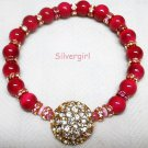 Hot Pink/Red Pink Crystal Sparkly Gold Tone Stretch Bracelet