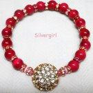Hot Pink Red Pink Crystal Sparkly Gold Tone Stretch Bracelet