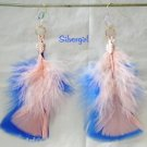Gold Plate Fluffy Blue Peach Feather Earring