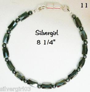 "8 1/4"" Black Magnetic Hematite Bracelet with SP Magnetic Clasp"