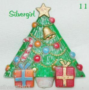 Plastic Christmas Tree Present Fun Pin