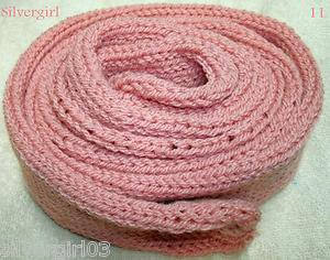 "OOAK Knit Soft Pink (Rose Marie) Tube Scarf  Approx 84"" long x 3"" Wide"