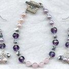 Amethyst Rose Quartz Pearl Bracelet Earring Set