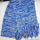 "Hand Knit Scarf Slightly Sparkly Blue Tan  54"" x 7"""