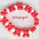 Red and White Seed Bead Ring Size 8