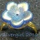Fun Fashion Blue AB Coated Glass Flower Bead Ring GP