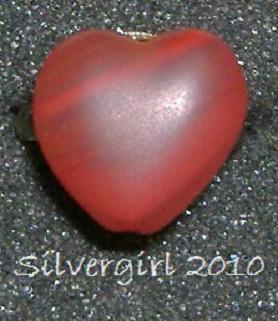Fun Fashion 2 Tone Red Glass Heart Bead Ring Bronze