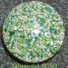 Fun Fashion Sparkly Green White Vintage Button Ring