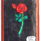 Original Red Rose Painting on Wood