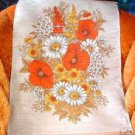 Large Orange Gold's Floral Linen Wall Hanging