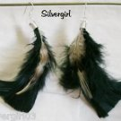 Silver Plate Fluffy Black Brown Feather Earrings