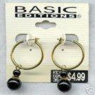 BASIC EDITIONS 14K Goldplate Hoops Black Beads