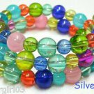 "19"" Glass Rainbow Colored Beaded Memory Wire Wrap Bracelet"