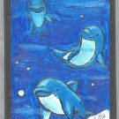 Swimming Dolphins Painting on Wood