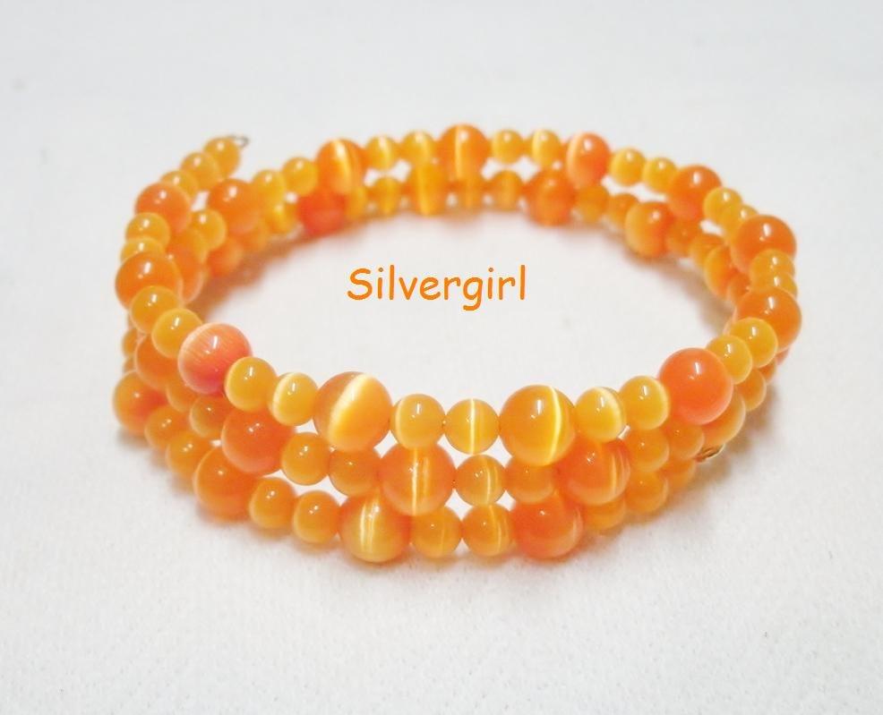 """19.5"""" Shimmer Orange Fiber Optic Cat's Eye Beaded Memory Wire Wrap Bracelet"""