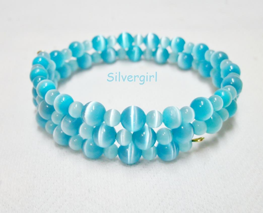"""20"""" Shimmer Aqua Blue Fiber Optic Cat's Eye Beaded Memory Wire Wrap Bracelet"""