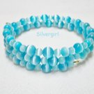 "20"" Shimmer Aqua Blue Fiber Optic Cat's Eye Beaded Memory Wire Wrap Bracelet"