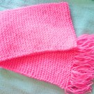 "Approx 60 x 8"" Long Hand Knit Bright Hot Pink Scarf"