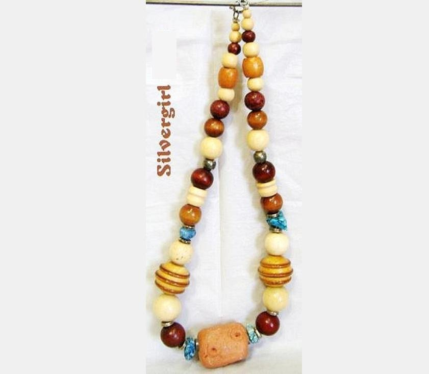 Vintage Browns Turquoise Clay Chunky Beaded Necklace