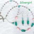 Pink Emerald Green Twisted Bead Necklace Earring Set