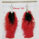 Red & Black Fluffy Feather Earrings Silver Plate