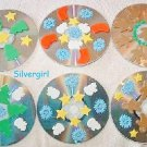 Handmade Set of 6 Christmas Themed CD Disc Drink Coasters