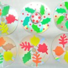 Autumn and Holly Leaves Drink CD Disc Coasters Set of 6 OOAK