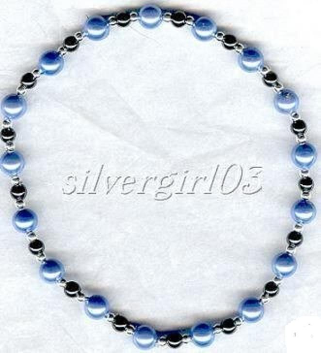 Magnetic Black Hematite Lt Blue Beaded Anklet/Bracelet