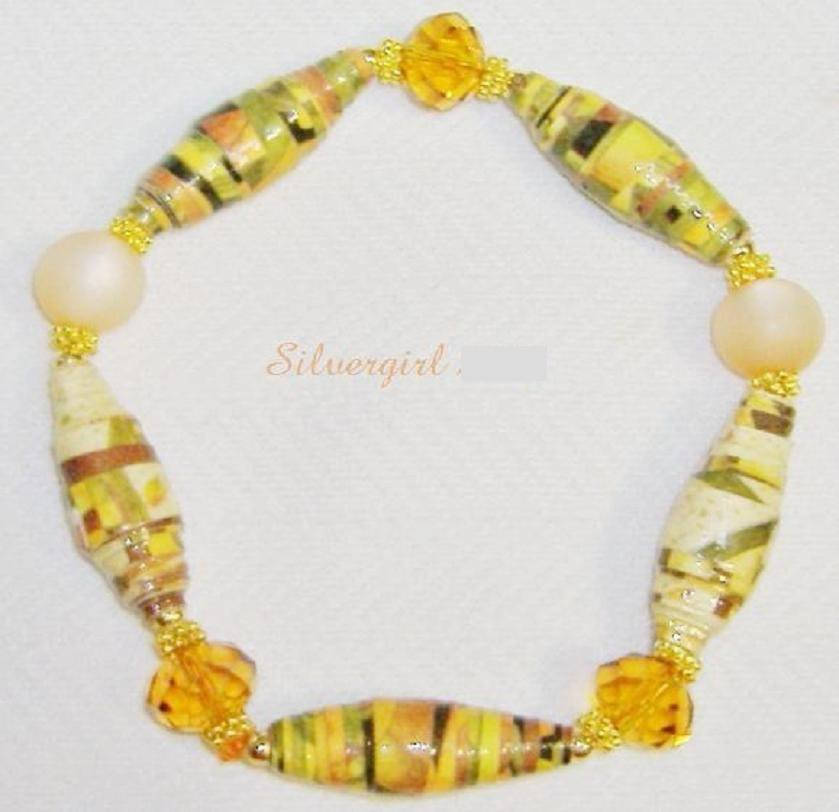 Moonglow Paper Gold Plate Crystals Stretch Bracelet