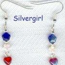 Red White & Blue Heart Flower Star Bead Earrings