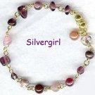 OUTCAST Purple Pink Glass Bead Bracelet