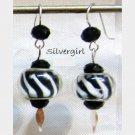 Black White European Style SS Lined Lampwork Beaded Earrings