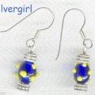 Bumpy Lampwork Blue Yellow Bead Drop Earrings