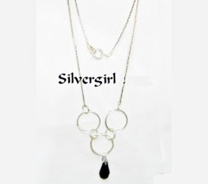 18K  Electroplate Silver Chain Black Crystal Necklace