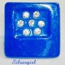 Fun Fashion Blue Button Rhinestone Sparkly Ring SP