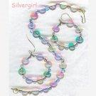 Czech Pressed Glass Rainbow Bracelet Earring Set