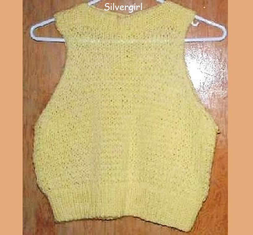 Hand Knit Yellow Women's Vest SZ S-M