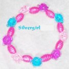Girls Pink Purple and Aqua Flower Beaded Bracelet