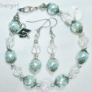Baby Blue Crystal Glass Pearl Graduation Bracelet