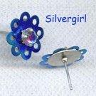 Pretty Multi Colored Crystal Blue Flower Stud Earrings