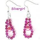 FW Pearl Fuschia Swarovski Crystal Earrings
