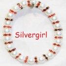 Imitation Glass Pearl SP Collar Stretch Bracelet