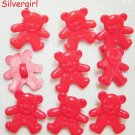 Set 9 Cute Red Teddy Bear Plastic Vintage Shank Buttons