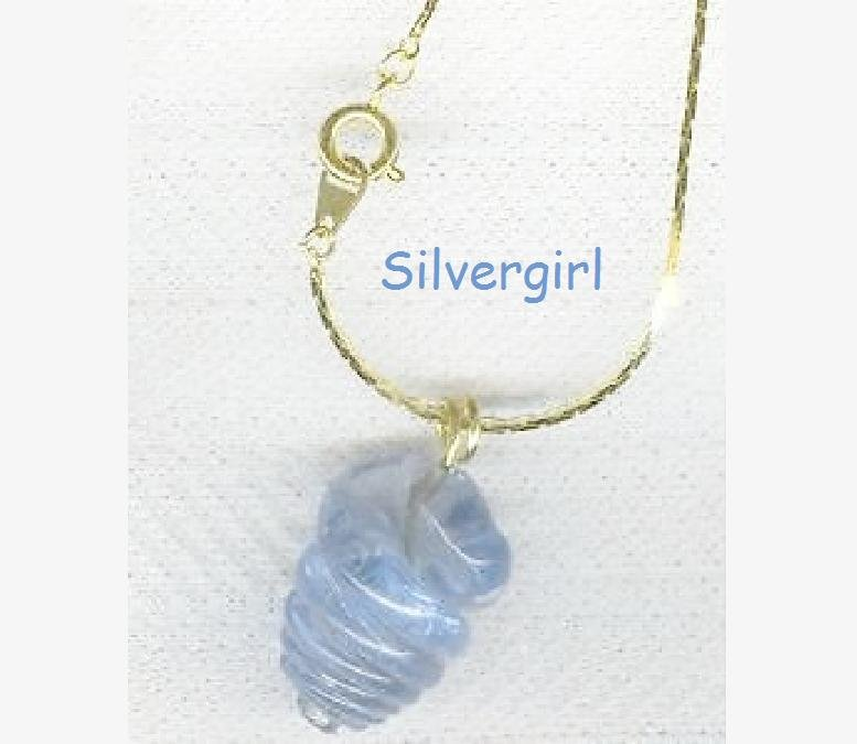 Blue Twisted Hurricane Glass Lamp Work Pendant GP Chain
